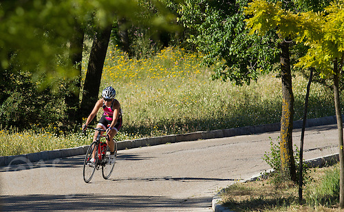 01 JUN 2013 - MADRID, ESP - Maria Teresa Alonson Dominguez makes her way around the Casa de Campo cycle course in Madrid, Spain during the WTP Agemaster race <br /> (PHOTO (C) 2013 NIGEL FARROW)