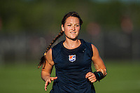 Sky Blue FC midfielder Brittany Bock (10) during warmups prior to playing the Western New York Flash. The Western New York Flash defeated Sky Blue FC 3-0 during a National Women's Soccer League (NWSL) match at Yurcak Field in Piscataway, NJ, on June 8, 2013.
