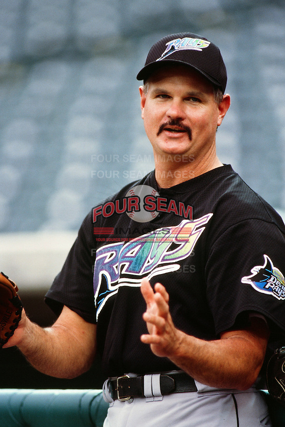 Jim Morris of the Tampa Bay Devil Rays during a game against the Anaheim Angels at Angel Stadium circa 1999 in Anaheim, California. (Larry Goren/Four Seam Images)