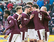 17th March 2018, Tynecastle Park, Edinburgh, Scotland; Scottish Premier League football, Heart of Midlothian versus Partick Thistle;  Jon Souttar of Hearts celebrates  his sides 3rd goal with teammates