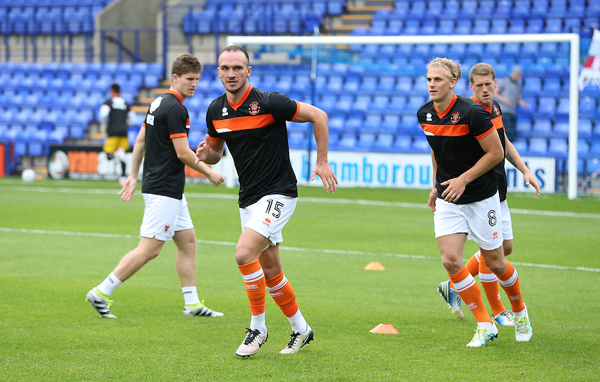 Blackpool's Tom Aldred during the pre-match warm-up <br /> <br /> Photographer Stephen White/CameraSport<br /> <br /> Football - Pre-Season Friendly - Tranmere Rovers v Blackpool - Tuesday 26 July 2016 - Prenton Park - Birkenhead<br /> <br /> World Copyright &copy; 2016 CameraSport. All rights reserved. 43 Linden Ave. Countesthorpe. Leicester. England. LE8 5PG - Tel: +44 (0) 116 277 4147 - admin@camerasport.com - www.camerasport.com