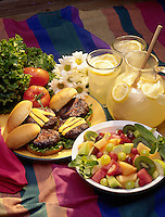 Grilled hambergers and lemonade.