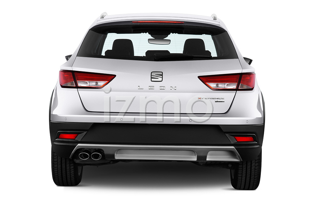 Straight rear view of a 2017 Seat Leon Xperience Base 5 Door Wagon stock images