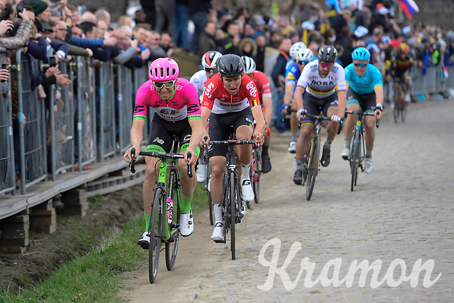 Sep Vanmarcke (BEL/Education First-Drapac) leading the race favorites up the Oude Kwaremont<br /> <br /> 102nd Ronde van Vlaanderen 2018 (1.UWT)<br /> Antwerpen - Oudenaarde (BEL): 265km
