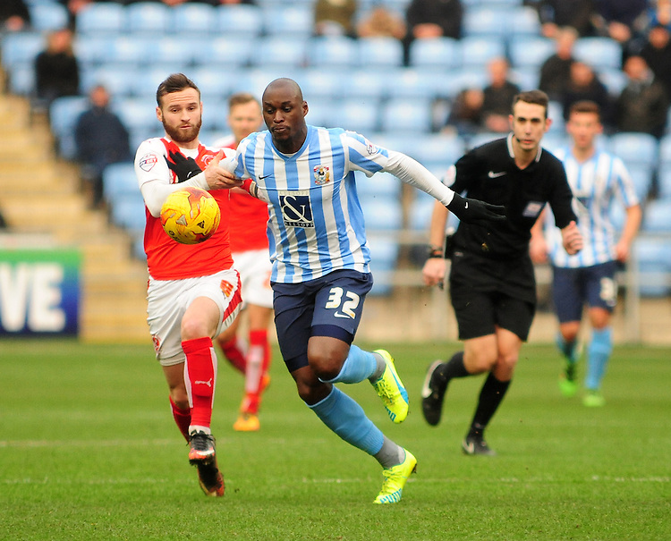 Coventry City&rsquo;s Marc-Antoine Fortune vies for possession with Fleetwood Town's Jimmy Ryan<br /> <br /> Photographer Andrew Vaughan/CameraSport<br /> <br /> Football - The Football League Sky Bet League One - Coventry City v Fleetwood Town - Saturday 27th February 2016 - Ricoh Stadium - Coventry   <br /> <br /> &copy; CameraSport - 43 Linden Ave. Countesthorpe. Leicester. England. LE8 5PG - Tel: +44 (0) 116 277 4147 - admin@camerasport.com - www.camerasport.com