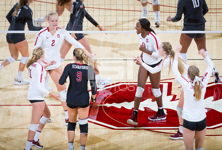 STANFORD, CA - October 12, 2018: Kathryn Plummer, Tami Alade, Kate Formico, Morgan Hentz, Jenna Gray, Meghan McClure at Maples Pavilion. No. 2 Stanford Cardinal swept No. 21 Washington State Cougars, 25-15, 30-28, 25-12.
