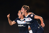 Midfielder Sophie Schmidt (16) of Sky Blue FC celebrates scoring with forward Kelley O'Hara (19) during the second half against the Chicago Red Stars. Sky Blue FC and the Chicago Red Stars played to a 1-1 tie during a National Women's Soccer League (NWSL) match at Yurcak Field in Piscataway, NJ, on May 8, 2013.