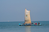 Africa, Madagascar, Ankilibe. Bakuba Hotel. Near the Tropic of Capricorn on the Mozambique channel. Sailboat on the water.