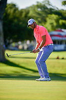 Wesley Bryan (USA) reacts to his putt on 10 during the round 1 of the Dean &amp; Deluca Invitational, at The Colonial, Ft. Worth, Texas, USA. 5/25/2017.<br /> Picture: Golffile | Ken Murray<br /> <br /> <br /> All photo usage must carry mandatory copyright credit (&copy; Golffile | Ken Murray)