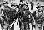 Young soldiers of Salvadoran Army patrolling along Route 2 in La Union area of El Salvador.