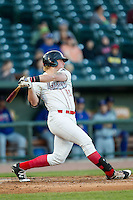Great Lakes Loons first baseman Matt Jones (40) follows through on his swing against the South Bend Cubs on May 18, 2016 at Dow Diamond in Midland, Michigan. Great Lakes defeated South Bend 5-4. (Andrew Woolley/Four Seam Images)