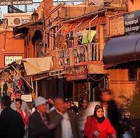 Crowds and shops at the Djemma el Fna square and marketplace, Medina, Marrakech, Morocco. Picture by Manuel Cohen