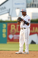 Delino DeShields #3 of the Lancaster JetHawks during a game against the Bakersfield Blaze at The Hanger on July 2, 2013 in Adelanto, California. Lancaster defeated Bakersfield, 12-1. (Larry Goren/Four Seam Images)