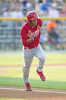 Oscar Mercado (4) of the Johnson City Cardinals hustles down the first base line against the Burlington Royals at Burlington Athletic Park on July 14, 2014 in Burlington, North Carolina.  The Cardinals defeated the Royals 9-4.  (Brian Westerholt/Four Seam Images)
