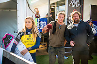 Bells Beach, Torquay Victoria, Australia. (Sunday April 20, 2014) Alana Blanchard (HAW), Jack Freestone (AUS) and Rip Curl Team Manager Ryan 'Fletch' Fletcher (AUS) –  The 2014  Rip Curl Pro at Bells Beach continued today with the completion of men's Round 2 and Round 2 and Round 3 of the women's event. The surf was in the 4'-6' range for most of the day with light offshore winds and clear skies.  .Photo: joliphotos.com