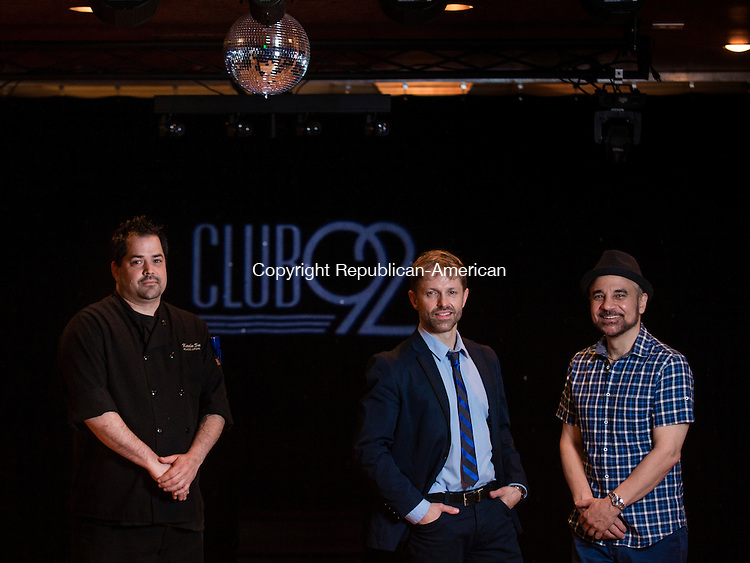 WATERBURY, CT- 31 May 2016-053116EC06-  Executive Chef Kevin Tynan Smith stands with 92 Bank co-owners Chris Cobb Olsen and Joshua Michael Angelus. The a new restaurant and bar has just opened along Bank Street in downtown Waterbury. The two-level space is also a cabaret, with performance space upstairs. Erin Covey Republican-American