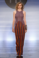Model walks runway in an outfit by Katilin Stone, during the Future of Fashion 2017 runway show at the Fashion Institute of Technology on May 8, 2017.