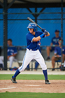 GCL Blue Jays second baseman Addison Barger (58) at bat during a game against the GCL Phillies West on August 7, 2018 at Bobby Mattick Complex in Dunedin, Florida.  GCL Blue Jays defeated GCL Phillies West 11-5.  (Mike Janes/Four Seam Images)