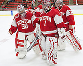 Mia Becker (BU - 30), Kerrin Sperry (BU - 1), Victoria Hanson (BU - 33) - The Harvard University Crimson defeated the visiting Boston University Terriers 3-1 on Friday, November 22, 2013, at Bright-Landry Hockey Center in Cambridge, Massachusetts.