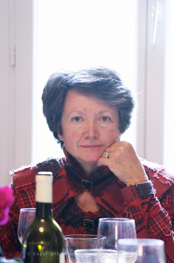 Geneviève Ponson Mas de Perry, Mas Nicot. Terrasses de Larzac. Languedoc. Owner winemaker. France. Europe. In the dining room.