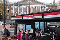 The Harvard MTA subway stop is seen in Harvard Yard near Harvard University in Cambridge, Massachusetts, USA, on Mon., Oct 15, 2018.