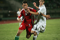 Hungary's Krisztian Nemeth (9) fights Italy's Michelangelo Albertazzi (5) for the ball during the FIFA Under 20 World Cup Quarter-final match at the Mubarak Stadium  in Suez, Egypt, on October 09, 2009. Hungary won 2-3 in overtime.