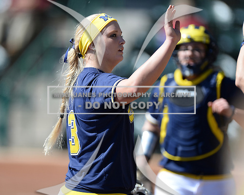 Michigan Wolverines Softball pitcher Megan Betsa (3) during a game against the Bethune-Cookman on February 9, 2014 at the USF Softball Stadium in Tampa, Florida.  Michigan defeated Bethune-Cookman 12-1.  (Copyright Mike Janes Photography)