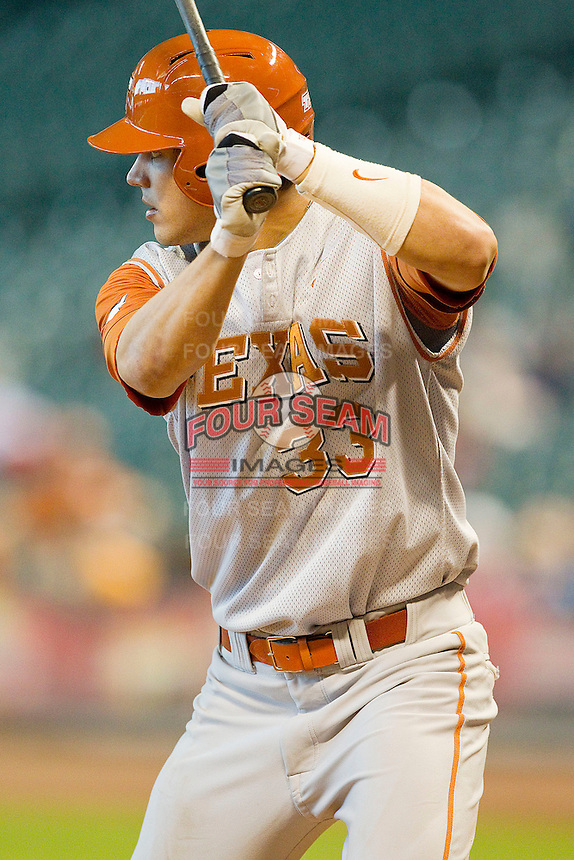 Jonathan Walsh #33 of the Texas Longhorns at bat against the Tennessee Volunteers at Minute Maid Park on March 3, 2012 in Houston, Texas.  The Volunteers defeated the Longhorns 5-4.  (Brian Westerholt/Four Seam Images)