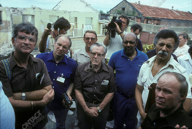 Dick Cheney (second from left), US Congressmen, visits Grenada after US invasion, November 1983.