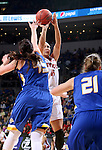 SIOUX FALLS, SD - MARCH 8:  Kelly Stewart #15 from the University of South Dakota shoots a jumper over Ellie Thompson #45 from South Dakota State University in the championship game of the 2016 Summit League Tournament Tuesday afternoon in Sioux Falls. (Photo by Dave Eggen/Inertia)