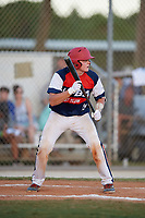 Austin Barry during the WWBA World Championship at the Roger Dean Complex on October 20, 2018 in Jupiter, Florida.  Austin Barry is a catcher from Houston, Texas who attends Langham Creek High School.  (Mike Janes/Four Seam Images)