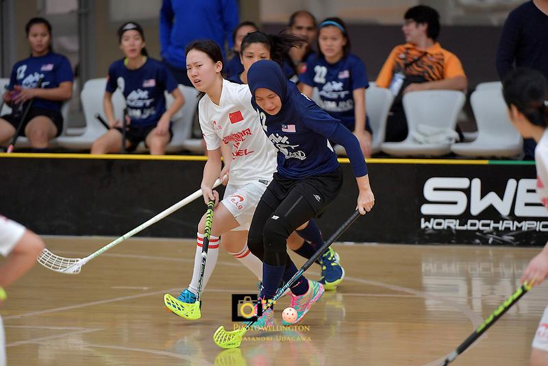 Malaysia's Fathih Hansi Binti Che Husain in action during the World Floorball Championships 2017 Qualification for Asia Oceania Region - Malaysia v China at ASB Sports Centre , Wellington, New Zealand on Sunday 5 February 2017.<br /> Photo by Masanori Udagawa<br /> www.photowellington.photoshelter.com.
