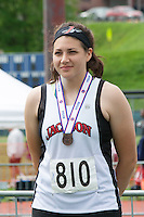 Jackson sophomore  Nicole Humphreys stands on the awards podium after her All-State, fourth place finish in the shot put at the 2015 Missouri High School State Track and Field Championships.