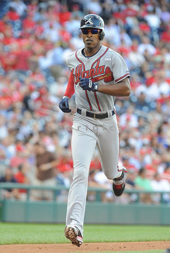 Atlanta Braves BJ Upton (2) during a game against the Washington Nationals on September 10, 2014 at Nationals Park in Washington DC. The Braves beat the Nationals 6-2.