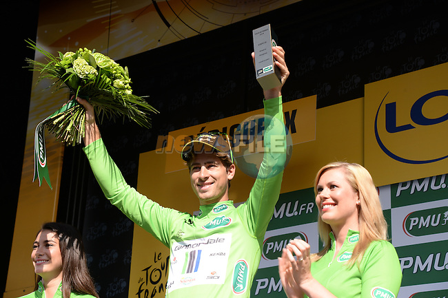 Green Jersey leader Peter Sagan (SVK) Cannondale on the podium at the end of Stage 20 Individual Time Trial of the 2014 Tour de France running 54km from Bergerac to Perigueux. 25th July 2014.<br /> Photo ASO/X.Bourgois/www.newsfile.ie