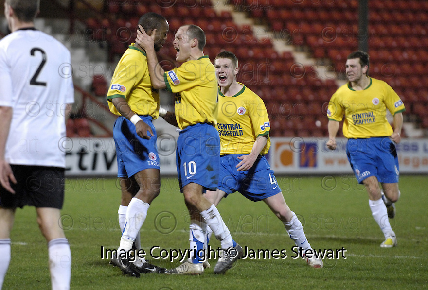 11/03/2008    Copyright Pic: James Stewart.File Name : sct_jspa04_dunfermline_v_hamilton.RICHARD OFFIONG IS CONGRATULATED BY ALEXANDER NEIL AFTER HE SCORES HAMILTON'S FIRST.James Stewart Photo Agency 19 Carronlea Drive, Falkirk. FK2 8DN      Vat Reg No. 607 6932 25.Studio      : +44 (0)1324 611191 .Mobile      : +44 (0)7721 416997.E-mail  :  jim@jspa.co.uk.If you require further information then contact Jim Stewart on any of the numbers above........