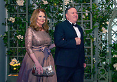 Director of the Central Intelligence Agency Michael Pompeo and Mrs. Susan Pompeo arrive for the State Dinner honoring Dinner honoring President Emmanuel Macron of the French Republic and Mrs. Brigitte Macron at the White House in Washington, DC on Tuesday, April 24, 2018.<br /> Credit: Ron Sachs / CNP