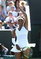 Venus Williams (USA) celebrates after winning her first round match against Johanna Larsson (SWE)<br /> <br /> Photographer Rob Newell/CameraSport<br /> <br /> Wimbledon Lawn Tennis Championships - Day 1 - Monday 2nd July 2018 -  All England Lawn Tennis and Croquet Club - Wimbledon - London - England<br /> <br /> World Copyright &not;&uml;&not;&copy; 2017 CameraSport. All rights reserved. 43 Linden Ave. Countesthorpe. Leicester. England. LE8 5PG - Tel: +44 (0) 116 277 4147 - admin@camerasport.com - www.camerasport.com