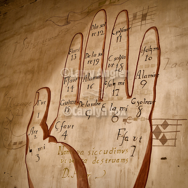 Musical palm, Museum artifacts, Historic Mission San Antonio de Padua, 3rd of the Father Serra Mission, 1771, Monterey County, Calif.