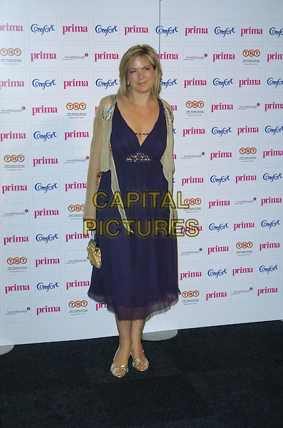 PENNY SMITH.Prima High Street Fashion Awards, Evolution, Battersea Park, London, England..September 13th, 2007.full length black dress gold shoes beige sheer wrap cardigan purple.CAP/CAN.©Can Nguyen/Capital Pictures