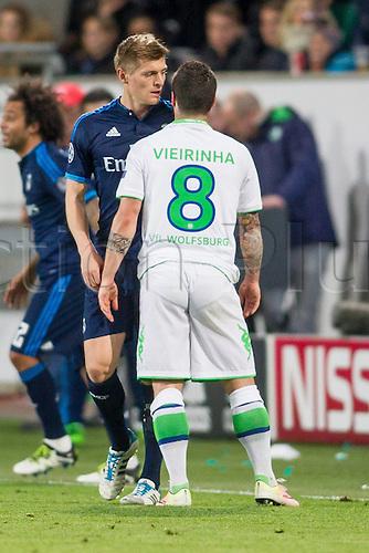 06.04.2016. Wolfsburg, Geramny. UEFA Champions League quarterfinal. VfL Wolfsburg versus Real Madrid. Toni Kross (Real Madrid CF 8) goes head to head with Vierinha (VfL Wolfsburg 8)