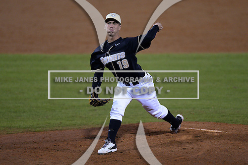 Central Florida Knights pitcher Vinnie Rosace (19) during the season opening game against the Siena Saints at Jay Bergman Field on February 14, 2014 in Orlando, Florida.  UCF defeated Siena 8-1.  (Copyright Mike Janes Photography)