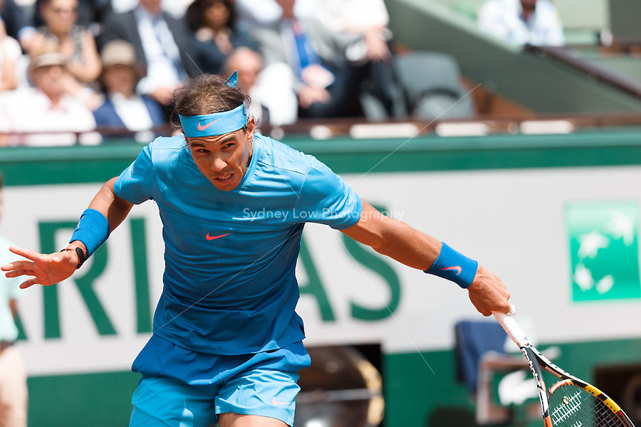 May 26, 2015: Rafael Nadal (ESP) in action in a 1st round match against Quentin Halys (FRA) on day three of the 2015 French Open tennis tournament at Roland Garros in Paris, France. Sydney Low/AsteriskImages