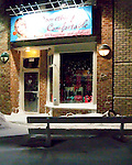 I was struck by the contrast between this store and the coating of snow and ice all around, the night the blizzard of February 2010 ended in Rehoboth Beach, Delaware, USA.