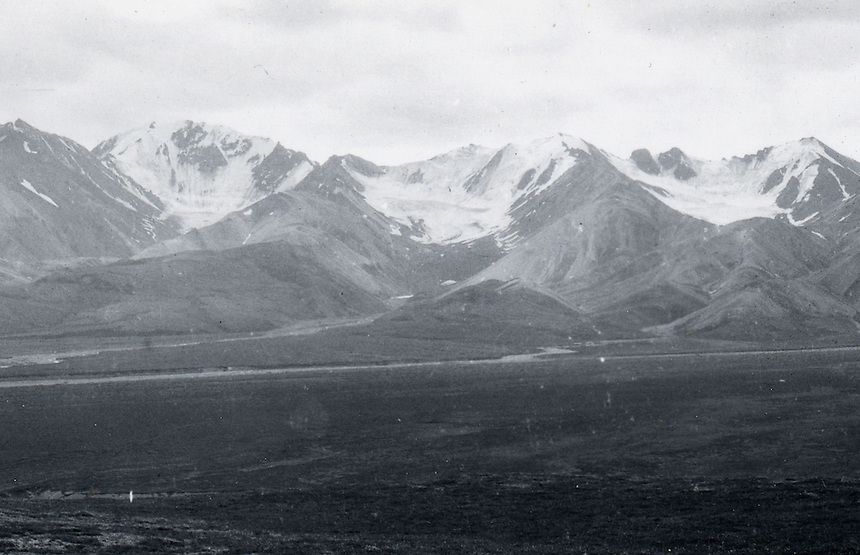 July 18, 1916, Polycrome Glaciers, Denali National Park and Preserve, Alaska, United States.  Image made by U.S. Geological Survey geologist Stephen Reid Capps.  Image is a crop of U.S. Geological Survey Photographic Library, S.R. Capps image # 794.