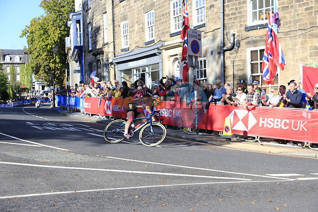 Chloe Dygert (USA) in 2nd place on the first circuit of Harrogate during the Women Elite Road Race of the UCI World Championships 2019 running 149.4km from Bradford to Harrogate, England. 28th September 2019.<br /> Picture: Eoin Clarke | Cyclefile<br /> <br /> All photos usage must carry mandatory copyright credit (© Cyclefile | Eoin Clarke)