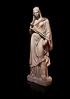 Roman statue of Plancia Magna a prominent woman from Anatolia who lived between the 1st century and 2nd century in the Roman Empire. Marble . Perge. 2nd century AD. Inv no 3459 . Antalya Archaeology Museum; Turkey. Against a black background.