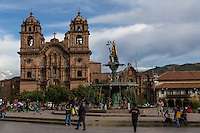Peru, Cusco.  Church of La Compania, 17th. Century Jesuit Church, Facing the Plaza de Armas.  Fountain with Inca King Pachacutec.