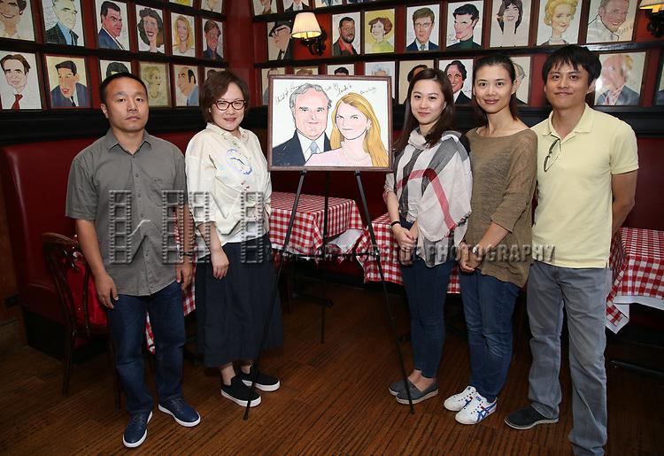 Wen Chen, Yanping Ma, Xuejiao Bai, Zhenzhu Ma and Zhiyong Liu attend Central Academy of Drama: Professors Visit Sardi's on September 24, 2017 at the Drama League Center  in New York City.