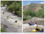 Kayakers and rafter on Clear Creek, Golden, Colorado.